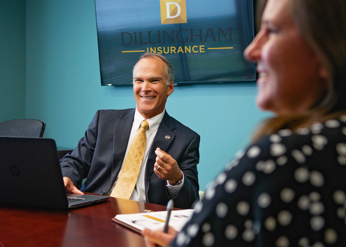 Dillingham Insurance employees in captive insurance meeting
